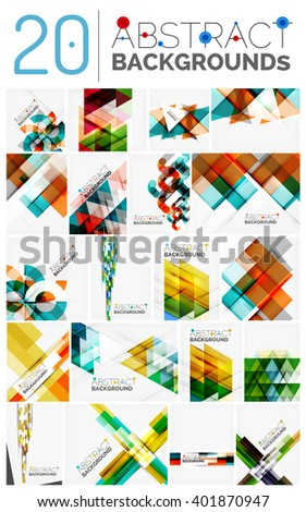 Collection of various multipurpose modern abstract backgrounds, geometric style - stock vector