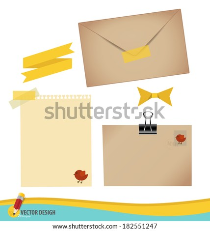 Collection of various papers, ready for your message. Vector illustration set: envelope, stamp, tape, ribbon and blank paper designs. - stock vector