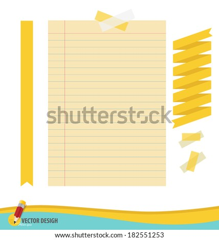 Collection of various papers, ready for your message. Vector illustration set: ribbon, tape and blank paper designs. - stock vector
