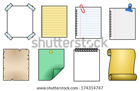 Collection of various papers, ready for your message. White folded paper, grungy old paper, ragged sheets of paper, blank squared and lined notepad pages and elements for attaching. - stock vector