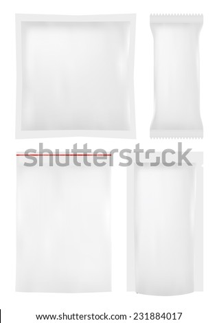 Collection of various plastic bags on white background. Vector - stock vector