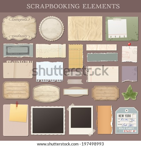 Collection of various scrap booking vector elements - stock vector