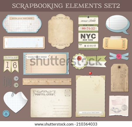Collection of various scrap-booking vector elements and Templates. - stock vector