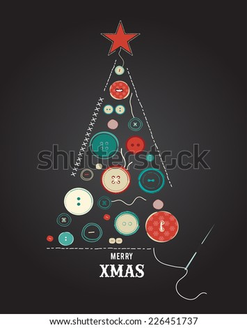 collection of various sewing buttons organized  as Christmas tree - stock vector