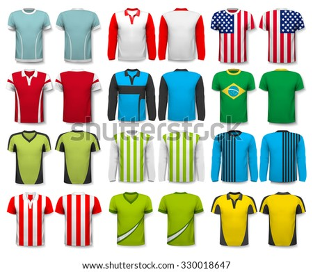 Collection of various shirts. Design template. The t--shirt is transparent and can be used as a template with your own design. Vector - stock vector