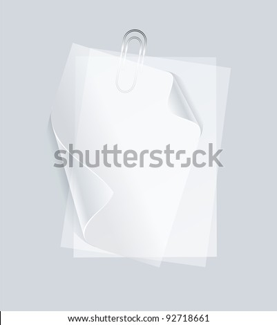collection of various white note papers or transparent stickers with pins - stock vector