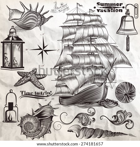 Collection of vector antique elements sea rest and summer vacation - stock vector