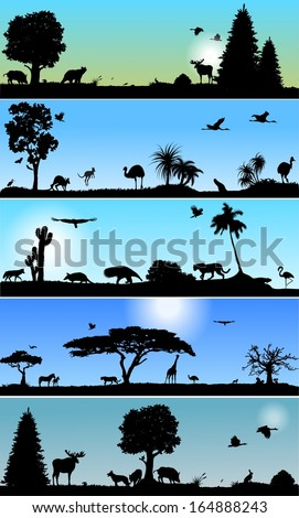 Collection of Vector banners with wold fauna and flora - stock vector