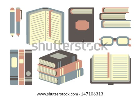 collection of vector books - stock vector