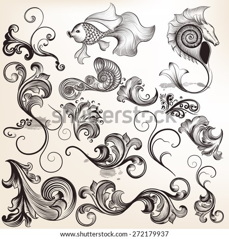 Collection of vector calligraphic elements and flourishes - stock vector