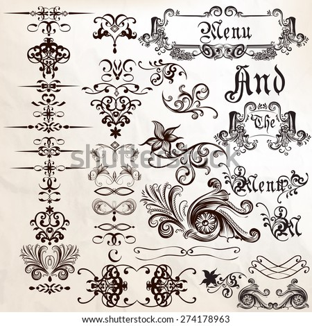 Collection of vector calligraphic elements frames and flourishes - stock vector