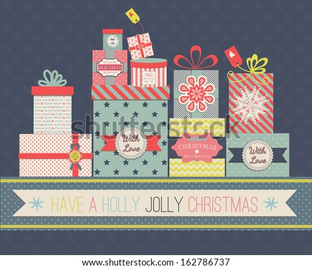 Collection of vector colorful Christmas present boxes. Holiday seamless greeting card. - stock vector