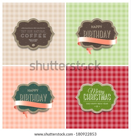 Collection of vector cute checkered pastel backgrounds with retro die cut cardboard badges. Vintage banners with pink silky ribbons. Holiday greeting cards. Christmas, New Year, Birthday. Coffee label - stock vector