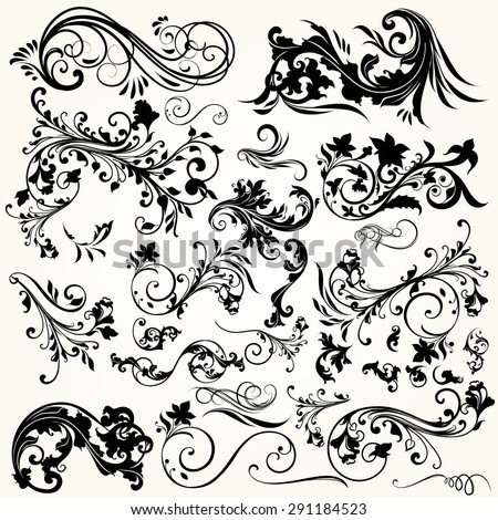 Collection of vector decorative flourishes - stock vector