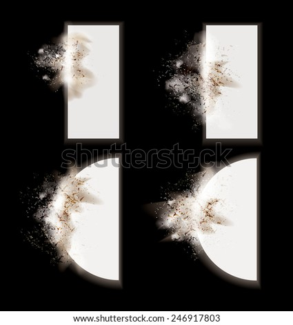 Collection of vector explosion effect design elements with particles and dust on a dark background ready to add to your own text or design. - stock vector