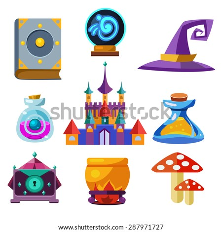 Collection of vector fairy tale elements, icons and illustrations - stock vector