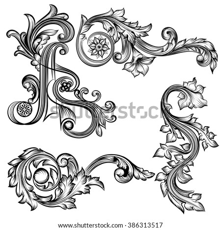 Collection of vector  flourishes in vintage style for design - stock vector