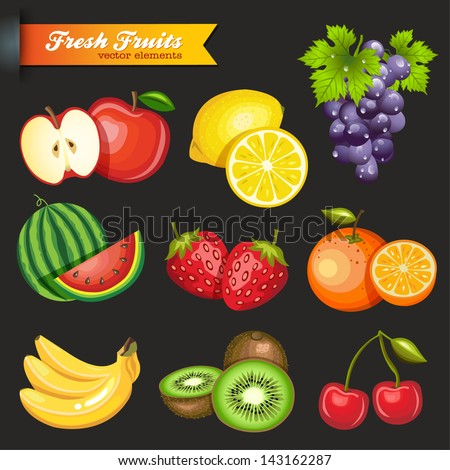 Collection of Vector Fruits - stock vector