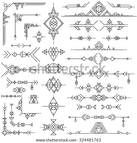 Collection of vector geometric line art design elements. Tribal style. - stock vector