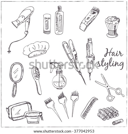 Collection of  Vector hand drawn Tools for make-up and hairstyle. - stock vector