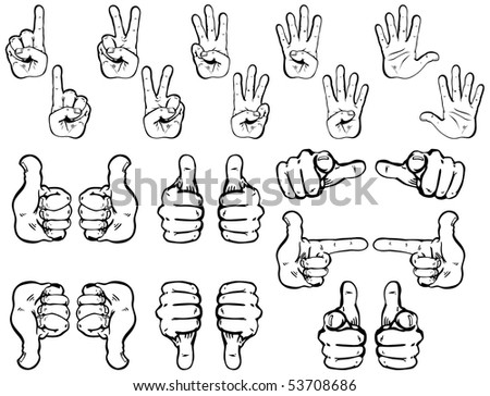 Collection of vector hands including counting and pointing hands as well as thumbs up and down. - stock vector