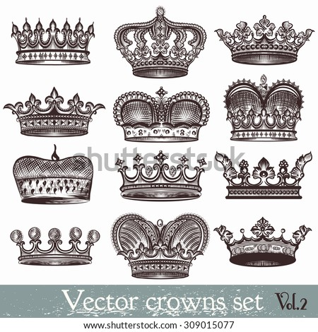 Collection of vector heraldic crowns in vintage style - stock vector
