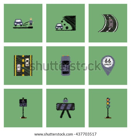 Collection of vector icons and illustration road signs - stock vector