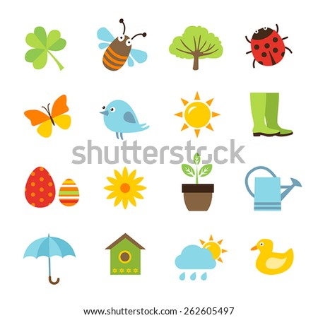 Collection of vector icons representing spring, nature and gardening - stock vector