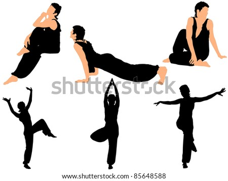 Collection of vector illustrations gymnasts - stock vector
