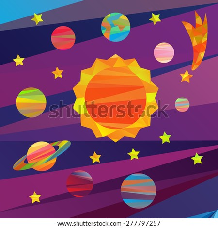 collection of vector images of planets in the solar system papercut style - stock vector