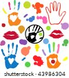 Collection of vector imprints and splashes - white areas of lips and hearts in hands are transparent -over any background - stock vector