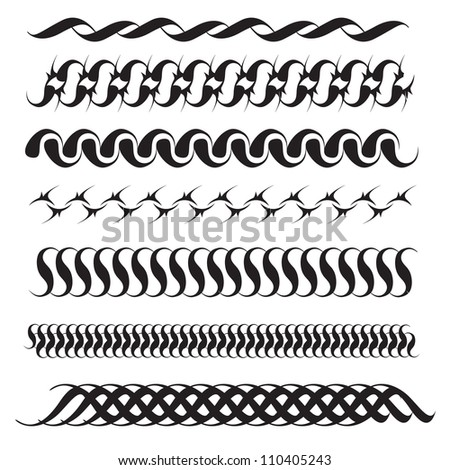 Collection of vector line and vintage elements useful as borders or art elements. - stock vector