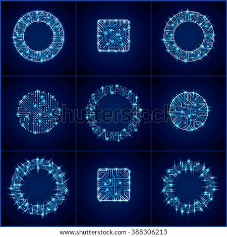 Collection of vector microchip designs, cpu. Information communication technology elements with sparkles, blue luminescent circuit boards in the shape of square and circle. - stock vector