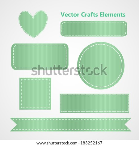 Collection of Vector Mint Green Grosgrain Ribbon Crafts Elements - stock vector