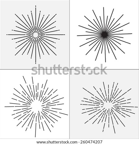 Collection of vector retro sun bursts. Vector illustration - stock vector