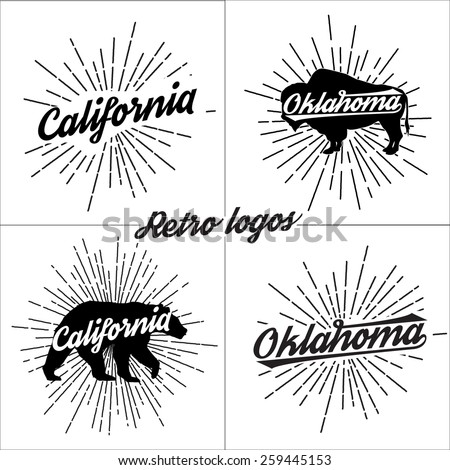 Collection of vector retro t-shirt logos - stock vector