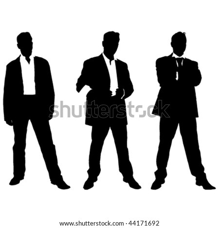 collection of vector silhouettes of men in suite - stock vector