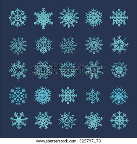 collection of vector snowflakes, blue snowflakes, blue snowflakes on a blue background - stock vector