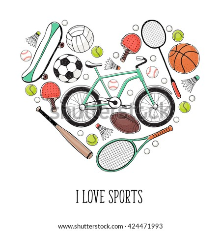Collection of vector sport equipment. I love sports illustration. Hand drawn sport balls, rackets, bicycle isolated on white background. - stock vector