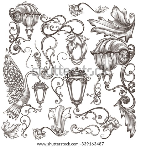 Collection of vector street lamps with flourishes  in vintage engraved style - stock vector