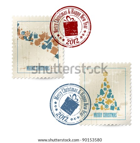 Collection of vector vintage postage stamps with postmarks - stock vector