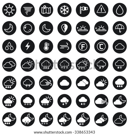 Collection of vector weather icons for your design. Vector Illustration. Meteorology Icons Set. Flat Weather Icons in White Background - stock vector