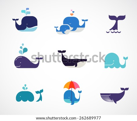 Collection of vector whale icons and illustrations - stock vector