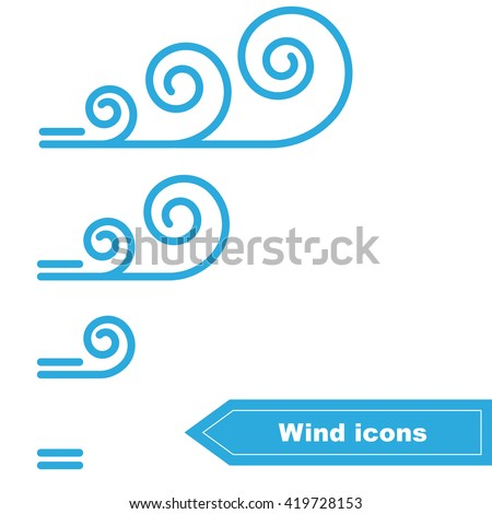 Collection of Vector Wind icons. Wind force - stock vector