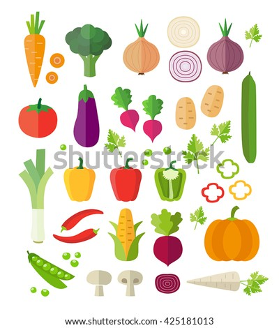 Collection of vegetables - healthy eating, healthy lifestyle. Modern flat design style. Can be used for web or printed graphics, infographics. - stock vector
