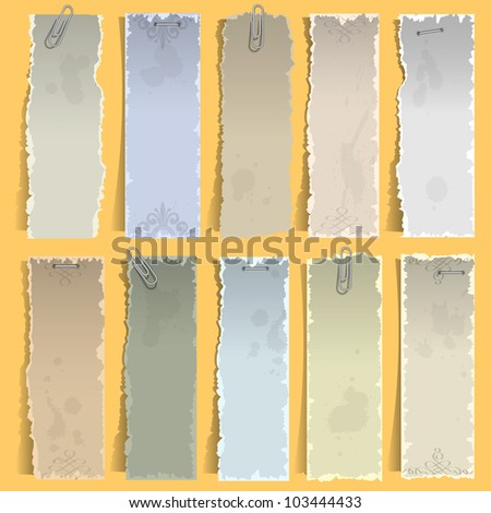 Collection of  vertical old note papers. Vector eps10 - stock vector
