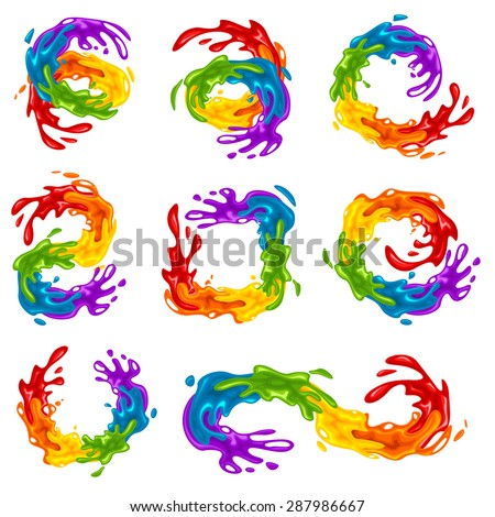 Collection of vibrant splashes in LGBT colors, vector illustration - stock vector