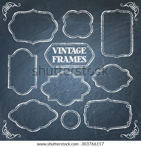 Collection of vintage chalkboard frames with space for text - stock vector