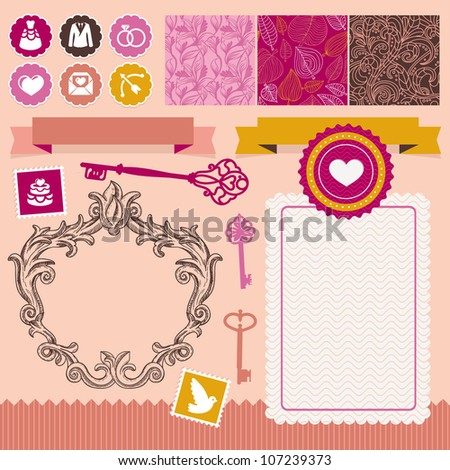Collection of vintage design elements - for wedding invitations and cards - stock vector