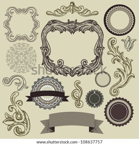 Collection of vintage design elements - vector frames, labels, ribbons, badges - stock vector